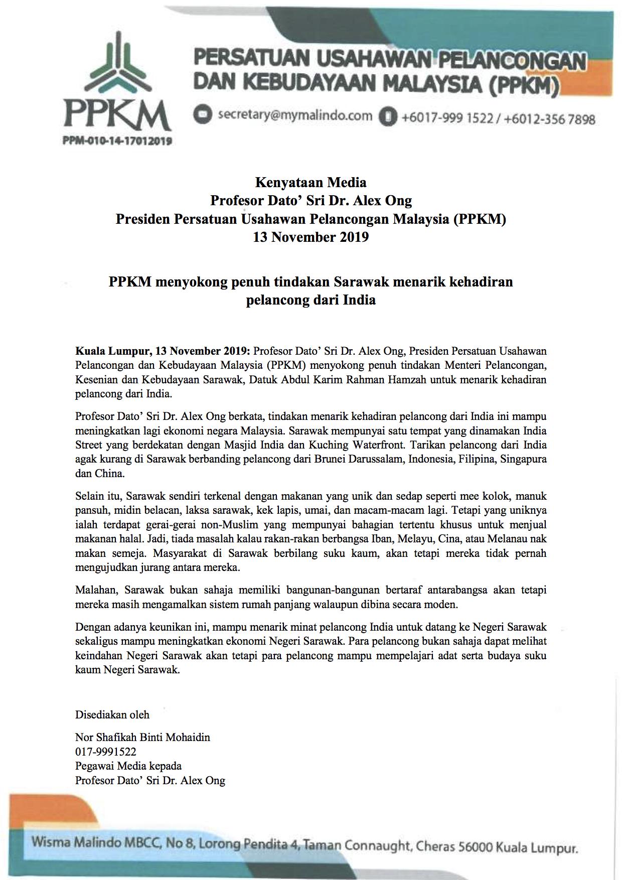 PPKM menyokong penuh tindakan Sarawak menarik kehadiran pelancong dari India